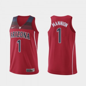 Hyper Elite College Basketball #1 Authentic Red For Men's Nico Mannion Arizona Jersey