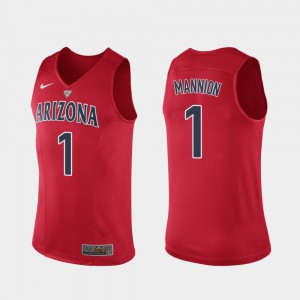 Red Authentic #1 For Men Nico Mannion Arizona Jersey Hyper Elite Performance