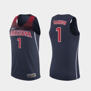 For Men's Nico Mannion Arizona Jersey #1 Navy College Basketball Replica