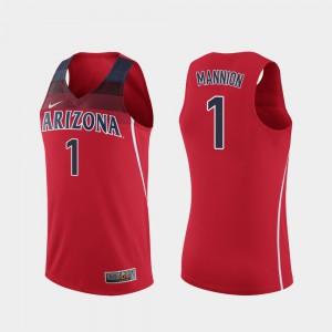 College Basketball #1 Men Replica Red Nico Mannion Arizona Jersey