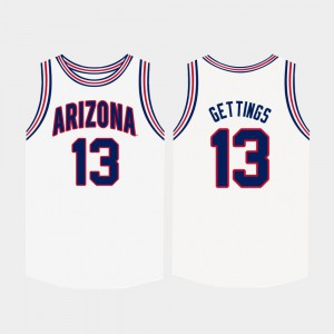 White #13 For Men's Stone Gettings Arizona Jersey College Basketball