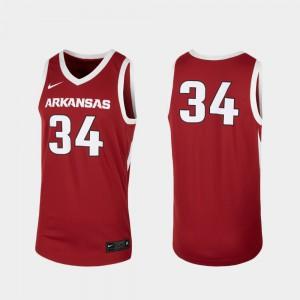 College Basketball For Men Replica #34 Arkansas Jersey Cardinal