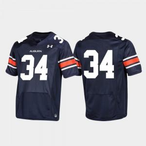 Navy For Men's Replica Football #34 Auburn Jersey