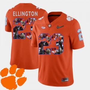 Football #23 Orange For Men Andre Ellington Clemson Jersey Pictorial Fashion