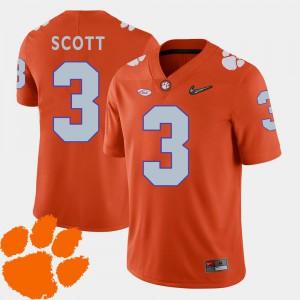 Artavis Scott Clemson Jersey #3 2018 ACC College Football For Men Orange