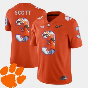 Pictorial Fashion Artavis Scott Clemson Jersey Football Orange #3 Mens