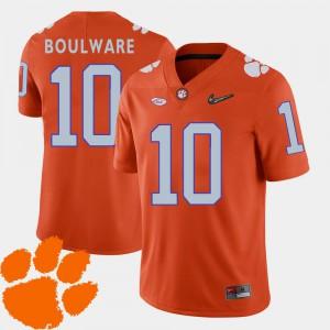 Ben Boulware Clemson Jersey Orange #10 Men College Football 2018 ACC