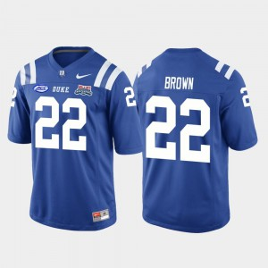 Men's #22 College Football Game Brittain Brown Duke Jersey Royal 2018 Independence Bowl