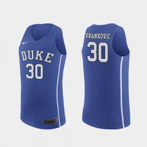 Authentic March Madness College Basketball Royal #30 Mens Antonio Vrankovic Duke Jersey