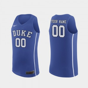#00 For Men's Authentic Royal Duke Custom Jersey March Madness College Basketball