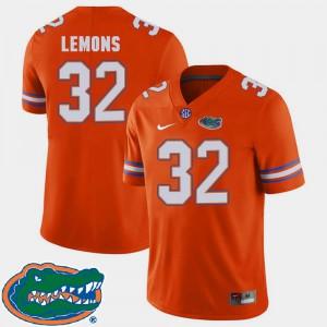 College Football #32 2018 SEC Adarius Lemons Gators Jersey For Men's Orange
