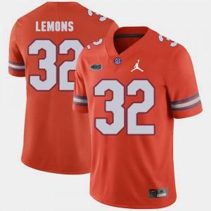 Replica 2018 Game Orange Adarius Lemons Gators Jersey Jordan Brand For Men's #32