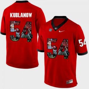 Red #54 Mens Brandon Kublanow UGA Jersey Pictorial Fashion