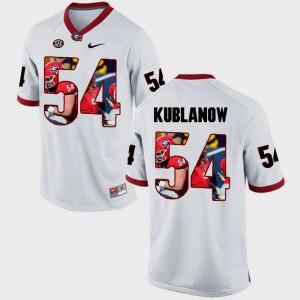 #54 White Brandon Kublanow UGA Jersey Pictorial Fashion Men