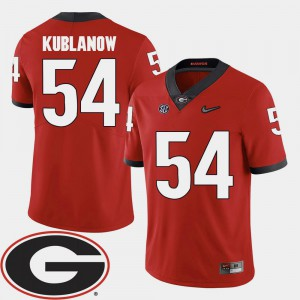 2018 SEC Patch #54 Brandon Kublanow UGA Jersey College Football For Men's Red