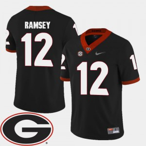 #12 2018 SEC Patch College Football Black Brice Ramsey UGA Jersey For Men's