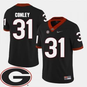 Men 2018 SEC Patch Black Chris Conley UGA Jersey #31 College Football
