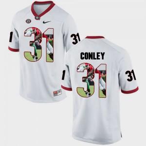 Pictorial Fashion #31 For Men's White Chris Conley UGA Jersey