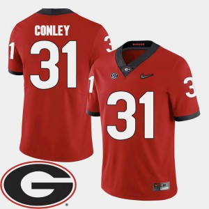 College Football Chris Conley UGA Jersey #31 For Men Red 2018 SEC Patch