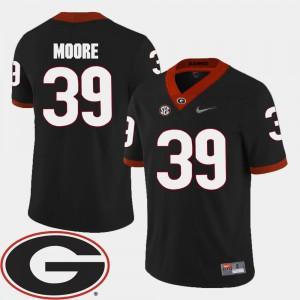 Men #39 Corey Moore UGA Jersey Black College Football 2018 SEC Patch