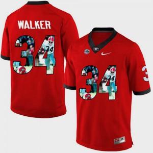 #34 Herschel Walker UGA Jersey Red Men's Pictorial Fashion