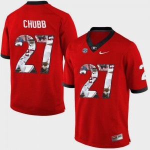 For Men Pictorial Fashion Red #27 Nick Chubb UGA Jersey