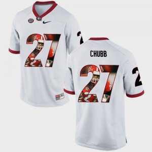Nick Chubb UGA Jersey #27 Men Pictorial Fashion White