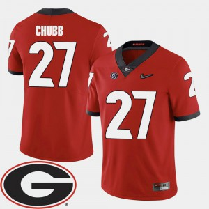 Nick Chubb UGA Jersey Red #27 2018 SEC Patch Men College Football