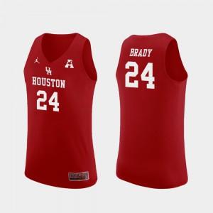 College Basketball Breaon Brady Houston Jersey Mens Replica Red #24