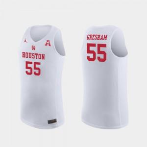 College Basketball White #55 Replica Mens Brison Gresham Houston Jersey