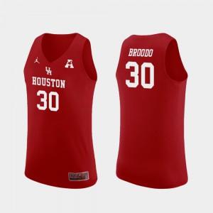 #30 Red Replica College Basketball For Men Caleb Broodo Houston Jersey