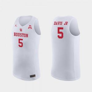 Men's College Basketball White Corey Davis Jr. Houston Jersey #5 Replica