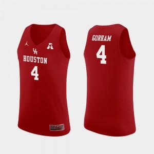 College Basketball Justin Gorham Houston Jersey Red Men Replica #4