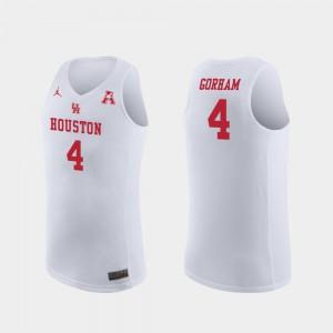 College Basketball Men Replica #4 Justin Gorham Houston Jersey White