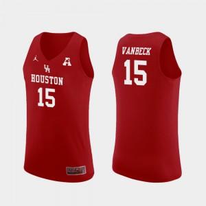 Neil VanBeck Houston Jersey Red Men's Replica #15 College Basketball