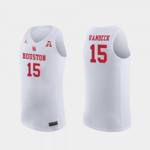 Mens Neil VanBeck Houston Jersey Replica #15 White College Basketball