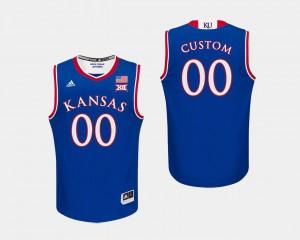 KU Custom Jerseys Men's #00 Royal College Basketball
