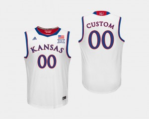 For Men's #00 College Basketball White KU Customized Jersey