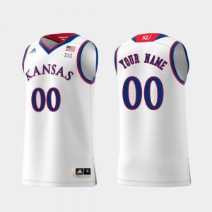 Men KU Custom Jerseys Swingman College Basketball White Replica #00