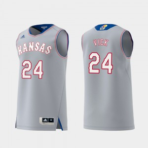 Men Swingman College Basketball Lagerald Vick KU Jersey #24 Gray Replica