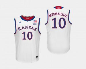 Sviatoslav Mykhailiuk KU Jersey #10 Men White College Basketball
