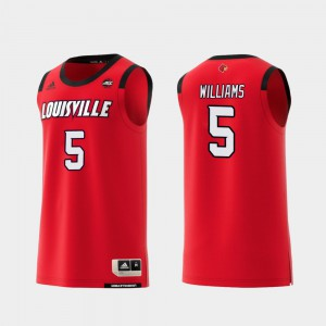 For Men's Red Malik Williams Louisville Jersey #5 College Basketball Replica
