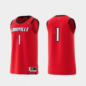 Louisville Jersey #1 For Men's College Replica Basketball Swingman Red