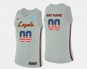 White #00 Mens Basketball US Flag Fashion Loyola Customized Jerseys