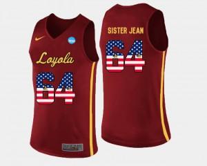 Maroon Basketball Men US Flag Fashion #64 Sister Jean Loyola Jersey