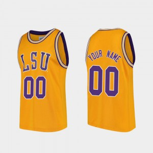 Gold LSU Customized Jersey Replica #00 For Men's College Basketball