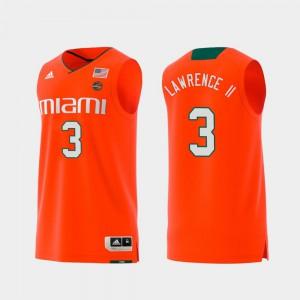 Men #3 Swingman College Basketball Replica Anthony Lawrence II Miami Jersey Orange