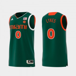 Swingman College Basketball Chris Lykes Miami Jersey Replica Green #0 Men's