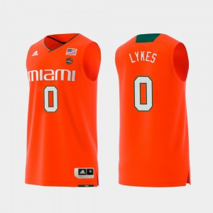 #0 Swingman College Basketball Orange For Men Chris Lykes Miami Jersey Replica