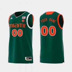 Miami Customized Jersey Green Men Swingman College Basketball #00 Replica
